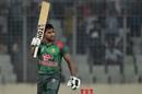Imrul Kayes raises his bat after reaching a hundred, Bangladesh v Zimbabwe, 1st ODI, Mirpur, October 21, 2018
