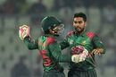 Mehidy Hasan celebrates with Mushfiqur Rahim, Bangladesh v Zimbabwe, 1st ODI, Mirpur, October 21, 2018
