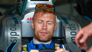 Andrew Flintoff behind the wheel of a Formula E car