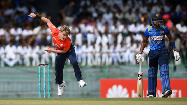 Sam Curran bowls during the fifth ODI