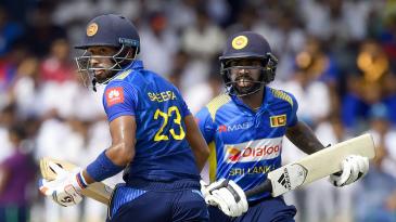 Sadeera Samarawickrama and Niroshan Dickwella put on a century stand for Sri Lanka