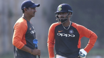 Sanjay Bangar and Rishabh Pant at a training session