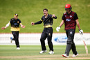 Hamish Bennett celebrates a wicket, Wellington v Canterbury, Ford Trophy, Basin Reserve, Wellington, October 24, 2018