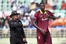 Jason Holder reacts after umpire Ian Gould signals four, India v West Indies, 2nd ODI, Visakhapatnam, October 24, 2018