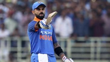 Virat Kohli is pumped after scoring his 37th ODI century