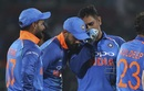 MS Dhoni has some tactics to discuss with Virat Kohli while Rishabh Pant looks on, India v West Indies, 2nd ODI, Visakhapatnam, October 24, 2018