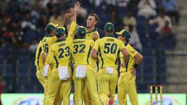 Billy Stanlake celebrates a wicket with his Australia team-mates
