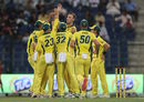 Billy Stanlake celebrates a wicket with his Australia team-mates, Pakistan v Australia, 1st T20I, Abu Dhabi, October 24, 2018