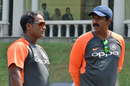 India head coach Ramesh Powar and fielding coach Biju George have a chat, India A v Australia A, Mumbai, October 26, 2018