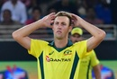 Billy Stanlake reacts during the second T20I, Pakistan v Australia, 2nd T20I, Dubai, October 26, 2018