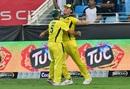 Mitchell Marsh and Aaron Finch celebrate a dismissal, Pakistan v Australia, 2nd T20I, Dubai, October 26, 2018