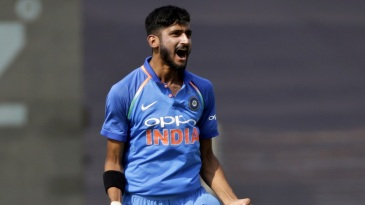 Khaleel Ahmed is thrilled after picking up a wicket