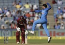 Kuldeep Yadav is chuffed after picking up a wicket, India v West Indies, 3rd ODI, Pune, October 27, 2018