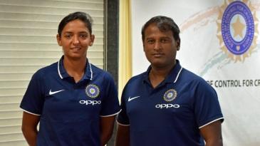 India captain Harmanpreet Kaur and coach Ramesh Powar at the pre-departure press meet