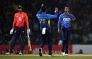 Amila Aponso celebrates the wicket of Alex Hales, Sri Lanka v England, only T20I, October 27, 2018