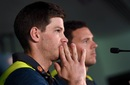 Tim Paine and Josh Hazlewood address the media, Melbourne, October 29, 2018