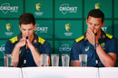 Australian Test Captain Tim Paine (L) and Co Vice-Captain Josh Hazlewood present the player review during a Cricket Australia press conference, Melbourne Cricket Ground on October 29, 2018 in Melbourne, Australia.