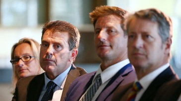Mark Taylor and Michael Kasprowicz listen to tough findings for Cricket Australia