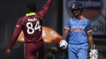 Keemo Paul imitates Shikhar Dhawan's 'Gabbar' celebration after getting the batsman out