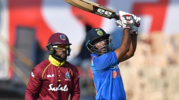Ambati Rayudu enjoys a six over long on