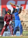 Ambati Rayudu enjoys a six over long on, India v West Indies, 4th ODI, Mumbai, October 29, 2018