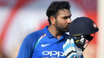 Rohit Sharma kisses his helmet