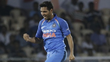 Bhuvneshwar Kumar celebrates after striking early