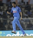 Bhuvneshwar Kumar celebrates after striking early, India v West Indies, 4th ODI, CCI Mumbai, October 29, 2018