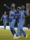 Virat Kohli celebrates after effecting a direct hit run out, India v West Indies, 4th ODI, CCI Mumbai, October 29, 2018