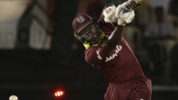 Rovman Powell is clean bowled by an inswinging delivery