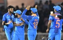 Virat Kohli and Khaleel Ahmed celebrate a wicket with teammates, India v West Indies, 4th ODI, CCI Mumbai, October 29, 2018