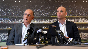 President of the ACA Greg Dyer (left) and CEO Alistair Nicholson address the media