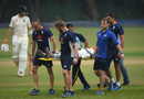 Pathum Nissanka is taken off the field after being hit on the head, Sri Lanka Board XI v England XI, Tour match, Colombo, October 31, 2018