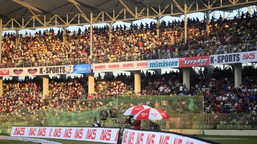 A packed house at the Sylhet International Cricket Stadium witnesses the action