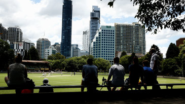 Spectators watch Michael Clarke bat in the Sydney Grade game between Western Suburbs and Gordon at Chatswood Oval