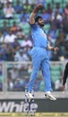 Jasprit Bumrah jumps in celebration, India v West Indies, 5th ODI, Thiruvananthapuram, November 1, 2018