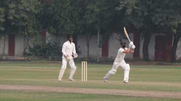 Siddhesh Lad bats with a mask in polluted conditions