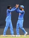 Ravindra Jadeja and Virat Kohli celebrate a wicket, India v West Indies, 5th ODI, Thiruvananthapuram, November 1, 2018
