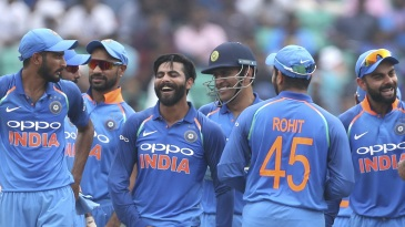 The India fielders share a laugh after a wicket