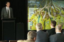 CEO James Sutherland speaks during a Cricket Australia  AGM, October 29, 2015