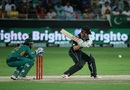 Kane Williamson plays a cut, Pakistan v New Zealand, 2nd T20I, Dubai, November 2, 2018