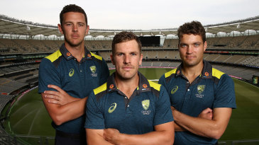 Aaron Finch with his two one-day vice-captains, Josh Hazlewood and Alex Carey