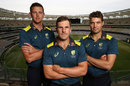 Aaron Finch with his two one-day vice-captains, Josh Hazlewood and Alex Carey, Perth, November 2, 2018
