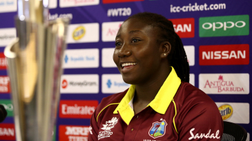 Stafanie Taylor finds a reason to smile at a press conference