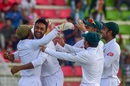 Abu Jayed celebrates a wicket with teammates, Bangladesh v Zimbabwe, 1st Test, Sylhet, 1st day, November 3, 2018
