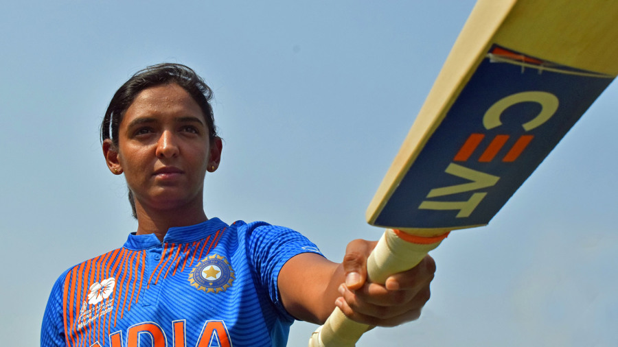 Harmanpreet Kaur points her bat