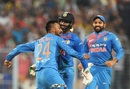 Krunal Pandya celebrates his first international wicket with Dinesh Karthik, India v West Indies, 1st T20I, Kolkata, November 4, 2018
