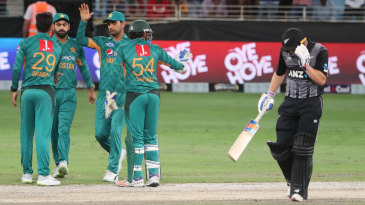 Pakistan celebrate Glenn Phillips' wicket
