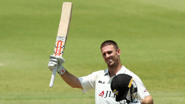 Mitchell Marsh celebrates his hundred