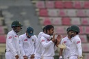 Mehidy Hasan celebrates a wicket with his team-mates, Bangladesh v Zimbabwe, 1st Test, Sylhet, 3rd day, November 5, 2018